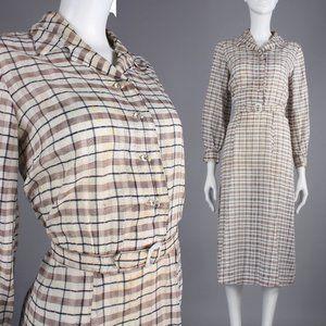 L Vintage 30s 40s Plaid Tissue Cotton Casual Dress